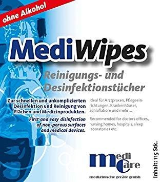 Servetele umede curatare/dezinfectare masca CPAP - MediWipes Neutral (115buc,30x30cm) 1